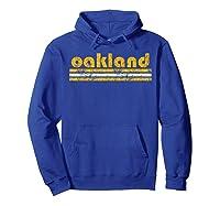 Oakland Retro Three Stripe Weathered Green T-shirt Hoodie Royal Blue