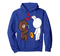 Brown Bear Cony Bunny Rabbit Engaget Ring Marriage Fiance Shirts Hoodie Royal Blue