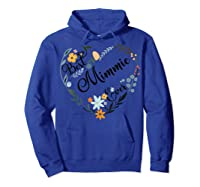 Best Mimmie Ever Heart Flower Blessed Grandma Mother's Day Shirts Hoodie Royal Blue