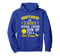 Mother's Day Mother Of 3 Shirts Hoodie Royal Blue