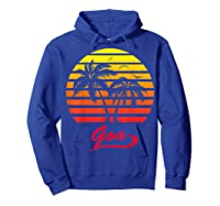 Goa 80s Summer Beach Palm Tree Sunset Shirts Hoodie Royal Blue