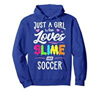 Just A Girl Who Loves E And Soccer Gift Shirts Hoodie Royal Blue