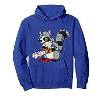 Spooky Halloween Costume Trash Panda Bloody Chainsaw Raccoon Shirts Hoodie Royal Blue