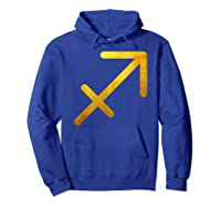 Vintage Gold Sagittarius Zodiac Symbol Art Astrology Star Shirts Hoodie Royal Blue