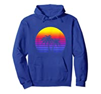 Synthwave Sun Palm Tree 80s Retrowave Aesthetic Outrun Shirts Hoodie Royal Blue