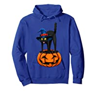 Witch Black Cat Funny Halloween Horror Scary Shirts Hoodie Royal Blue