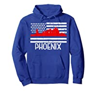 Phoenix Firefighter Red Line Skyline American Flag Hero Shirts Hoodie Royal Blue