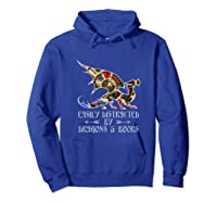 Easily Distracted By Dragons And Books Funny Dragon Shirts Hoodie Royal Blue