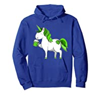 Lepricorn Unicorn St Patrick's Day With Green Clover Shirts Hoodie Royal Blue