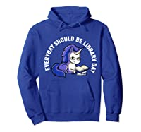 Cute Unicorn Reading Book Librarian Lover Library 2019 Shirt Hoodie Royal Blue