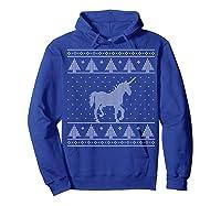 Unicorn Ugly Christmas Sweater, Funny Holiday Gift Shirts Hoodie Royal Blue