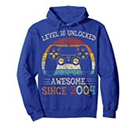 Vintage Video Level 16 Unlocked Gamers 16th Birthday Gifts Shirts Hoodie Royal Blue