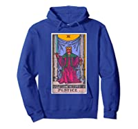 Justice Tarot Card Psychic Occult Metaphysical Shirts Hoodie Royal Blue