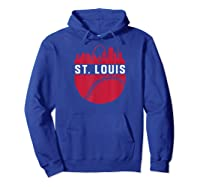 Vintage Downtown St. Louis Missouri Skyline Baseball T-shirt Hoodie Royal Blue