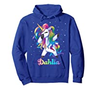 Name Rainbow Unicorn Dabbing Shirts Hoodie Royal Blue