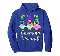 Gnoming Around 3 Hippie Gnomes Tie Dye Hat Retro Peace T-shirt Hoodie Royal Blue
