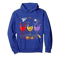Pumpkin Halloween Wine Glasses Funny Shirts Hoodie Royal Blue