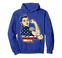 Rosie The Riveter Bandana Feminist Usa Flag 4th Of July T-shirt Hoodie Royal Blue