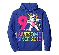 9 Years Old 9th Birthday Unicorn Dabbing Girl Party Shirts Hoodie Royal Blue