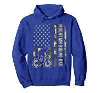 Mountain Biking Dad Camouflage American Flag Fathers Day Shirts Hoodie Royal Blue