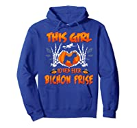 This Girl Loves Her Bichon Frise Dog Halloween Costume Shirts Hoodie Royal Blue