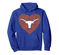 Texas Longhorns Heart Roses Apparel Shirts Hoodie Royal Blue