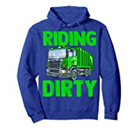 Recycling Trash Garbage Truck Riding Dirty Shirts Hoodie Royal Blue