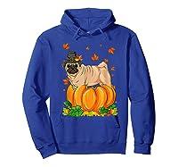 Thanksgiving Day Pug Dog Costume Pumpkin Gifts T-shirt Hoodie Royal Blue