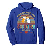 Promoted To Godfather Est 2019 Vintage Arrow Shirts Hoodie Royal Blue