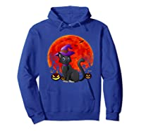 Vintage Scary Halloween Black Cat Costume Witch Hat & Moon T-shirt Hoodie Royal Blue