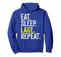 Eat Sleep Lake Repeat Summer Boating Vacation Boat Premium T-shirt Hoodie Royal Blue