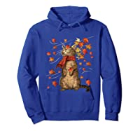 Cat Leaf Fall Hello Autumn Weather Shirts Hoodie Royal Blue