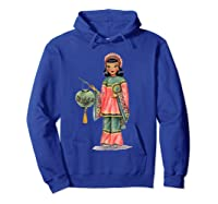 Vintage Traditional National Chinese Costume Doll Shirts Hoodie Royal Blue