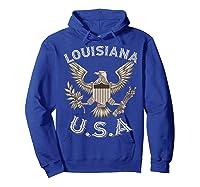 Louisiana Usa Patrio Eagle Vintage Distressed Shirts Hoodie Royal Blue