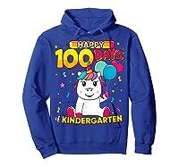 Unicorn Happy 100 Days School Kindergarten Girls Gift Shirts Hoodie Royal Blue