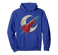 Retro Red Rocket T-shirt Hoodie Royal Blue