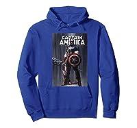 Marvel Captain America Flag Comic Cover Premium T-shirt Hoodie Royal Blue