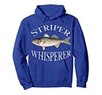Striper Whisperer Striped Bass Fish Illustration Fishing T-shirt Hoodie Royal Blue
