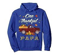One Thankful Papa Truck Thanksgiving Day Family Matching T-shirt Hoodie Royal Blue