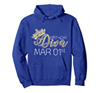 Birthday Diva On March 1st Pisces Pride Shirts Hoodie Royal Blue