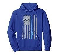 American Flag Fishing Vintage Fishing Shirts Hoodie Royal Blue