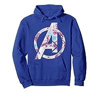 Avengers Logo Floral Super Hero Shirts Hoodie Royal Blue