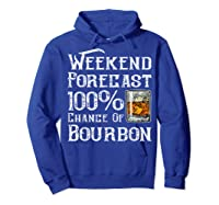 Weekend Forecast 100 Percent Of Bourbon Whiskey Shirts Hoodie Royal Blue