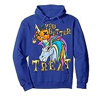Unicorn Pumpkin Shirts Hoodie Royal Blue
