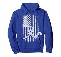 American Flag Stomach Cancer Awareness Ribbon T-shirt Hoodie Royal Blue
