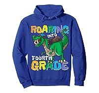 Roaring Into Fourth Grade 4 Dinosaur Back To School Soccer Shirts Hoodie Royal Blue