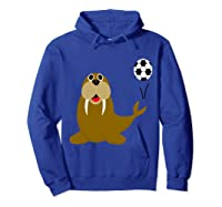 Southerndesigns Funny Walrus Playing Soccer Shirts Hoodie Royal Blue