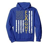 Childhood Cancer Awareness T-shirt American Flag Distresse T-shirt Hoodie Royal Blue