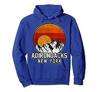 Adirondacks Retro Mountain Sunset Shirts Hoodie Royal Blue