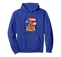 Vintage Puerto Rico Girl Woman Puerto Rican Flag Shirts Hoodie Royal Blue